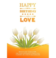 White tulips on a card for birthday vector image