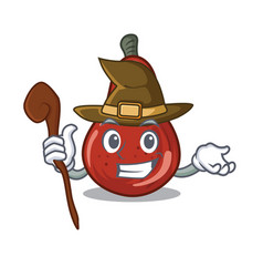 Witch red pears isolated in mascot vector