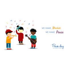 World peace day card of children making music vector