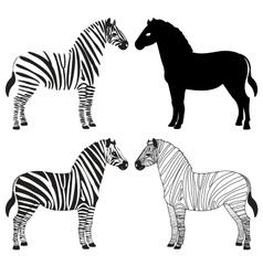 Zebra silhouettes set vector image