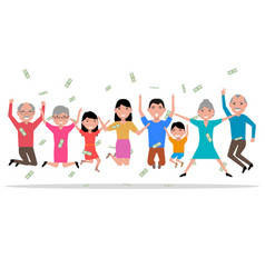 cartoon happy people received the money vector image vector image