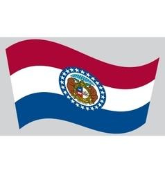 Flag of Missouri waving on gray background vector image