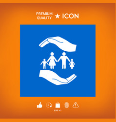 Hands holding a symbol of family family protect vector
