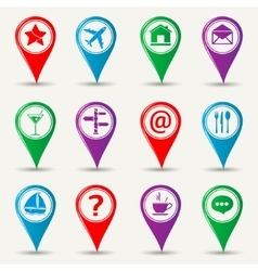 Map pointers icons vector image vector image