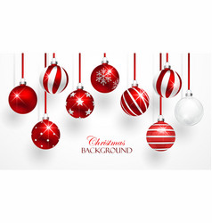 Red Christmas Balls Set vector image vector image