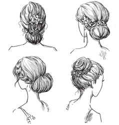 set of hairstyles vector image