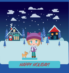 winter landscape with beautiful cartoon chibi girl vector image
