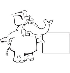 Cartoon Elephant with a Sign vector image