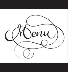 menu word on white background hand drawn vector image