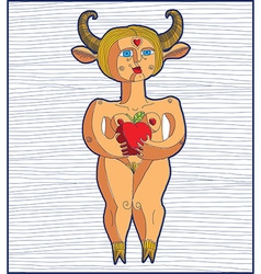 Nude woman with an apple graphic stripy Eve vector image vector image
