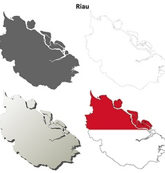 Riau blank outline map set vector image