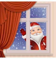 Santa Claus looking through window vector image vector image