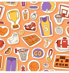 Basketball sport seamless pattern vector image vector image