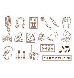 doodle audio related icon set vector image vector image