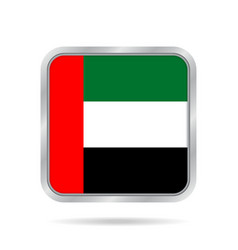 flag of emirates metallic gray square button vector image