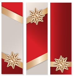 Golden Bow Banner Set vector image