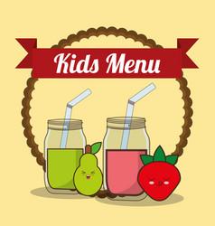 kids menu glass cup with juice fruit vector image vector image