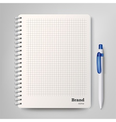 Spiral notebook with the white ballpoint pen vector image