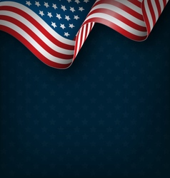 Wavy USA national flag on blue vector image