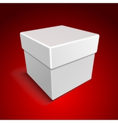 White Blank Paper Close Gift Box on Red Background vector image vector image