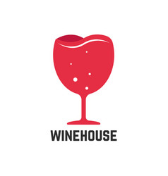 wine house logotype with red wineglass vector image