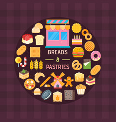 bread and pastry banner vector image