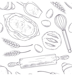 Seamless pattern with hand drawn bakery oblects in vector image