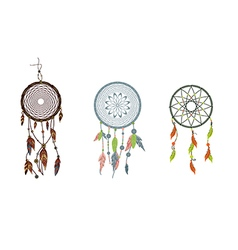 Set dreamcatcher isolated on white background vector