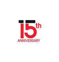 15 years anniversary logotype with black and red vector