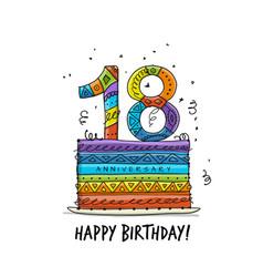 18th anniversary celebration greeting card vector