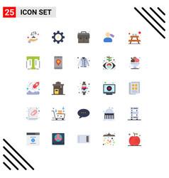 25 universal flat color signs symbols of vector
