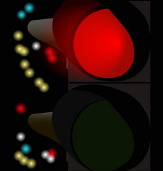 a traffic light working at night vector image