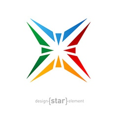 Abstract rainbow star logo design element on white vector