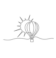 Air balloon with sun symbol happiness travel vector
