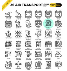 air transport travel outline icons vector image