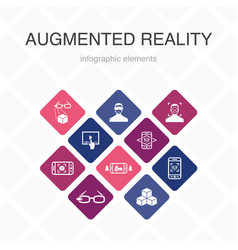 Augmented reality infographic 10 option color vector