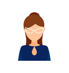 avatar girl with glasses with hair collected in vector image