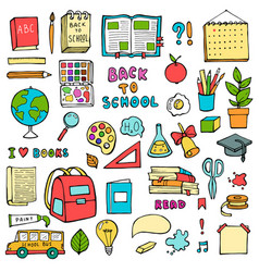back to school hand drawn doodles set with vector image