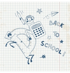 Back to school Schoolboy endearing knowledge vector