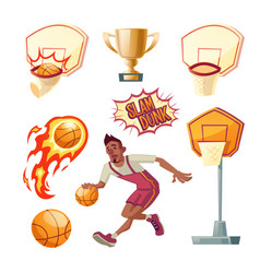 basketball set - sportsman with ball vector image