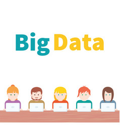 Big data people with computer vector