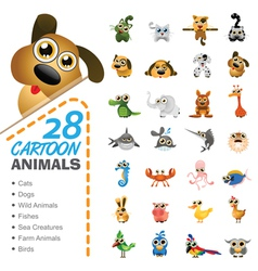 big set various cartoon animals and birds vector image