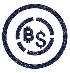 bitcoin financial diagram rounded grainy icon vector image