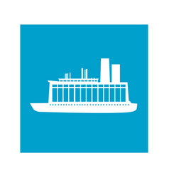blue square frame with cargo ship vector image