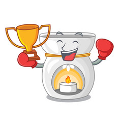 Boxing winner aroma therapy lamp with flower vector