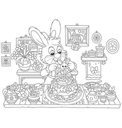 bunny cooking an easter cake vector image