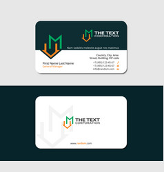Business card with letter m and loft icon vector