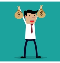 Businessman hands holding money bag vector image