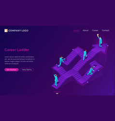 career ladder isometric landing way to success vector image