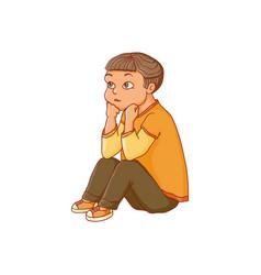 cartoon boy sitting listening attentively vector image